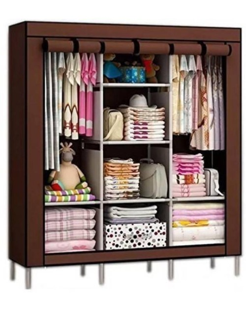 3 DOOR PORTABLE FOLDING WARDROBE CUPBOARD DIY-Multicolor